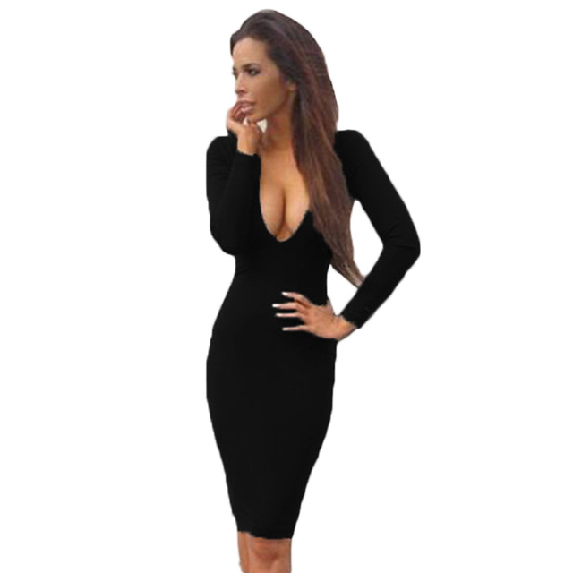 Summer Elegant Bodycon Dress Women Deep V Neck Long Sleeve Sexy Club Slim Short  Dress Evening Party Vestidos 825eb24498