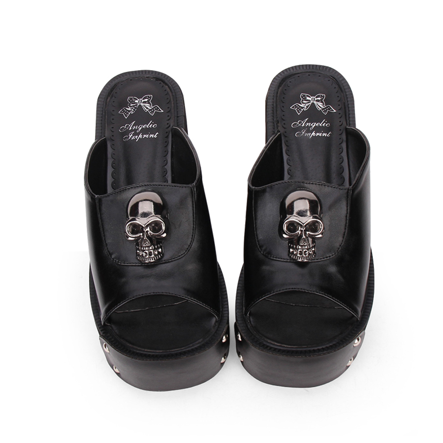 Large Size Summer Women Platform Sandals Anime Skull Rivets Ladies Dark Gothic Punk Lolita Cosplay Shoes Muffin Sandals Slippers