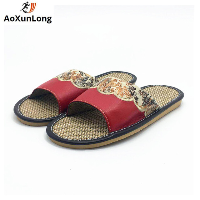 f9c1eb461d3d Summer Slippers Women Flax Woven Home Slippers Red Flat Shoes Woman Indoor Flip  Flop Size 35-40 Leather Women Shoes Pantufa 8 7