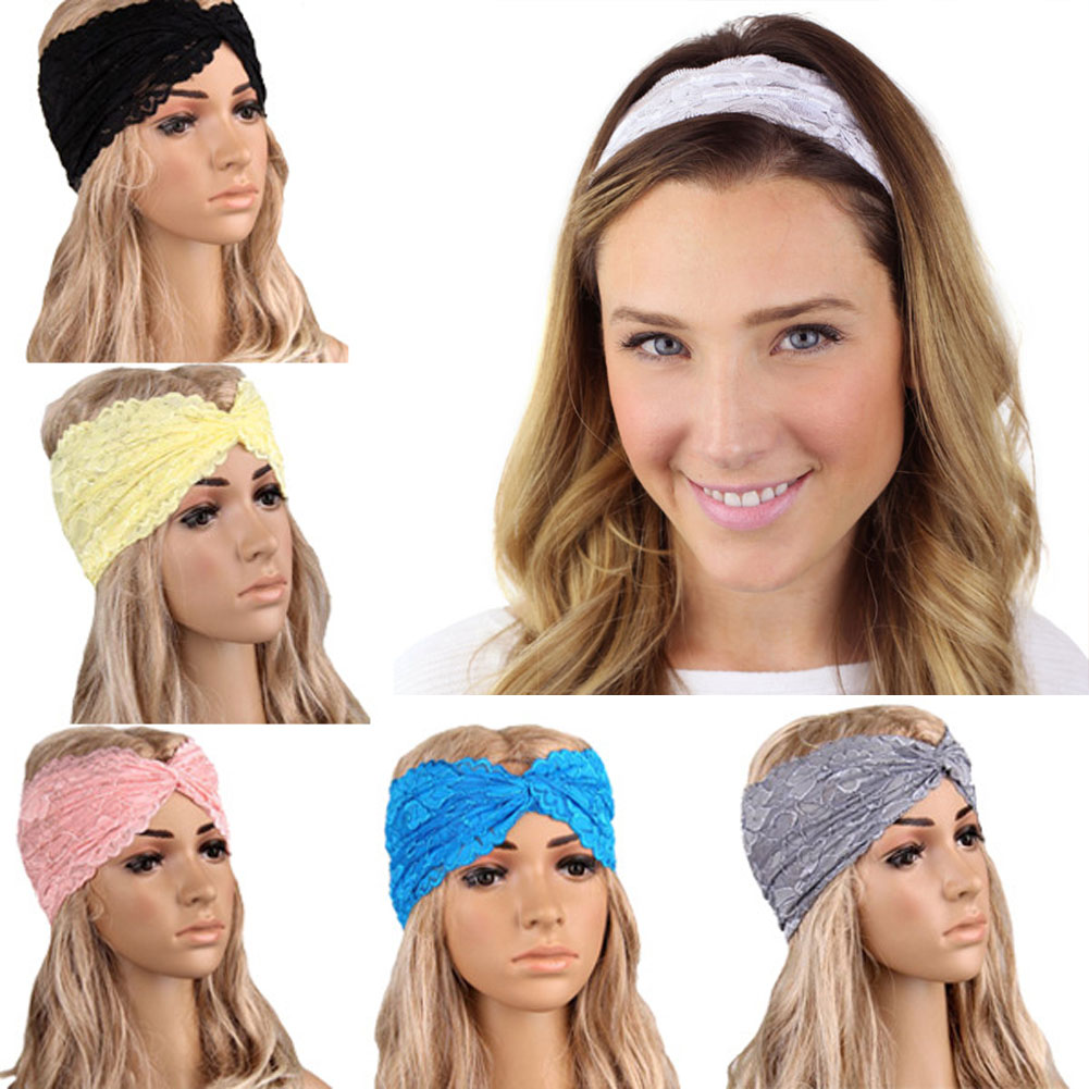 New Fashion Hair Band Accessories Lace Ladies Cross Wide Headwear Elastic Headbands For Women Fashion Turban Headwrap