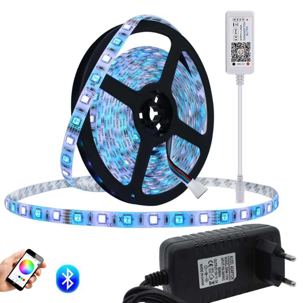 RGB LED Strip Tahan Air 5050 5 M/lot DC12V Fita Lampu LED Strip LED Ribbon Tape Rgbww Fleksibel Pita LED Strip RGBW Bt Controller