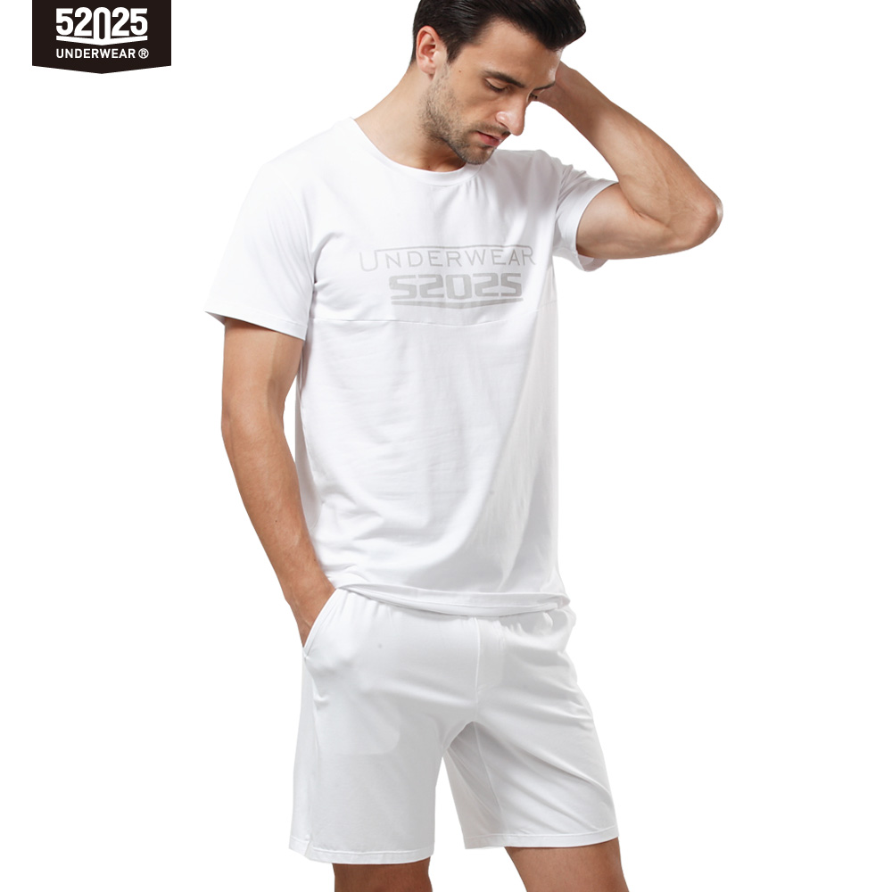 52025 Men Pajama Set Cotton Modal Short Sleeve Sleepwear Comfortable Summer Lounge Pajamas Men Pyjama Set Home Clothes Nightwear
