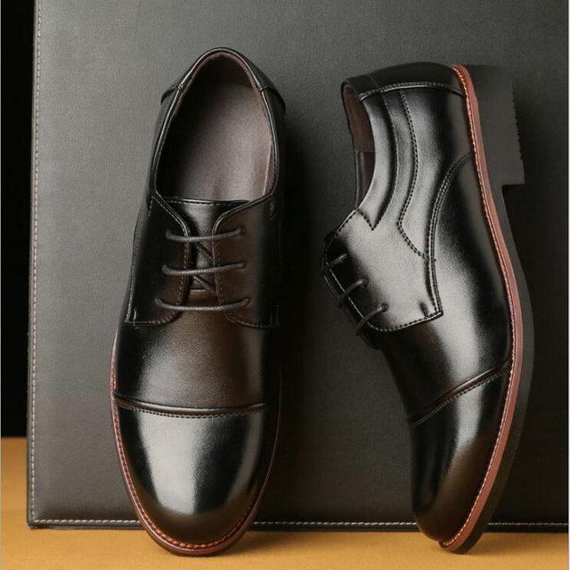 Для мужчин офисные туфли чёрный; коричневый Туфли-оксфорды большой размер 38-48 Для мужчин Кожаные модельные туфли обувь Острый носок официальные туфли в деловом стиле LC-14
