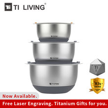 Купить с кэшбэком Pure Titanium High-grade Salad Bowl Basin Round Silicone Cover Home Kitchen Thickening Deepening Salad Egg Bowl Cooking Tools