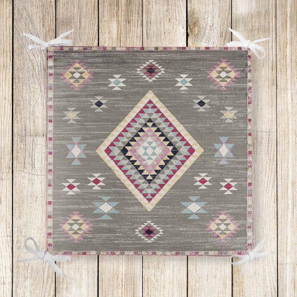 Else Gray Pink Turkish Ethnic Kilim 3d Print Chair Pad Seat Cushion Soft Memory Foam Full Lenght Ties Non Slip Washable Zipper