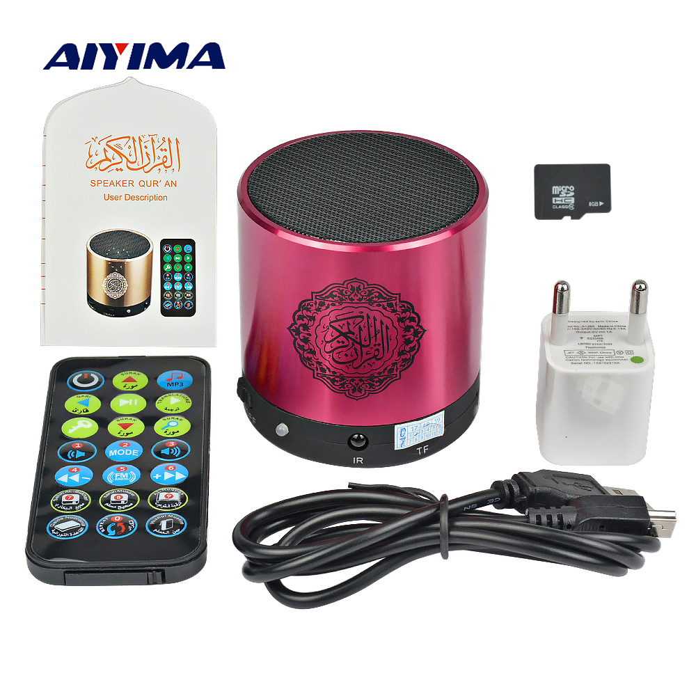 цена на AIYIMA Mini Portable Quran Speaker SQ200 Music Player Support 8G TF Card FM Remote Control Translator USB Speakers