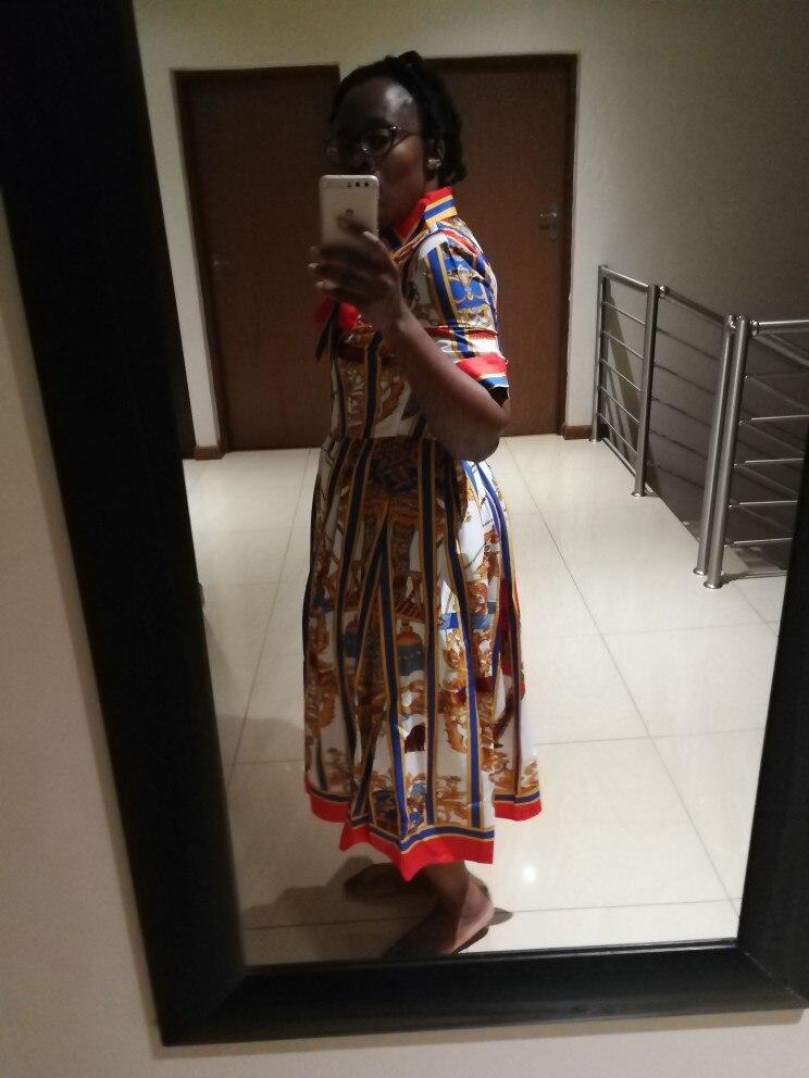 Summer Newest Runway Designer Dress Women'S Short Sleeve Shirt Collar Floral Printed Bow Midi Dress photo review