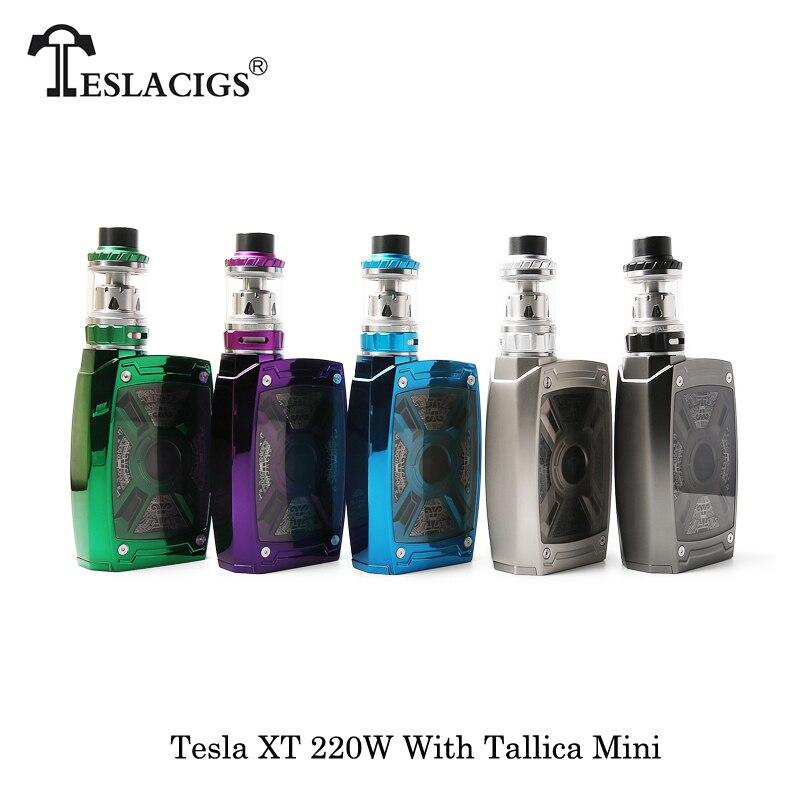цена на Electronic Cigarette Tesla XT 220W Box Mod With Tallica Mini Tank 4.0ml Powered By 18650/20700/21700 Battery Vape Vaporizer Ecig