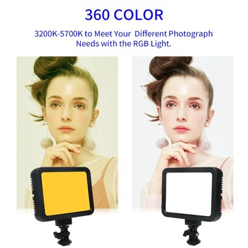 Portable 360Colors LED Video Light White+RGB Photography Lighting Dimmable Fill Light 3200K-5700K Camera Light Ultra-thin