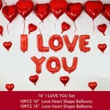 28PCS I LOVE YOU Nastavit balónky Pentagram balónky srdce fólie miluji tě za dospělé svatba Valentýn balónky dekorace