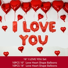 I LOVE YOU Balloons Love Heart Foil Decorations Adult Wedding Globos Valentines Day Ballons