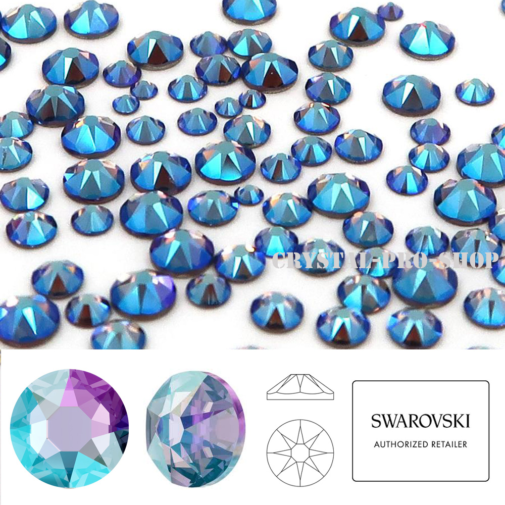 90 Swarovski Strasssteine HOT FIX White Opal Sky Blue SS10
