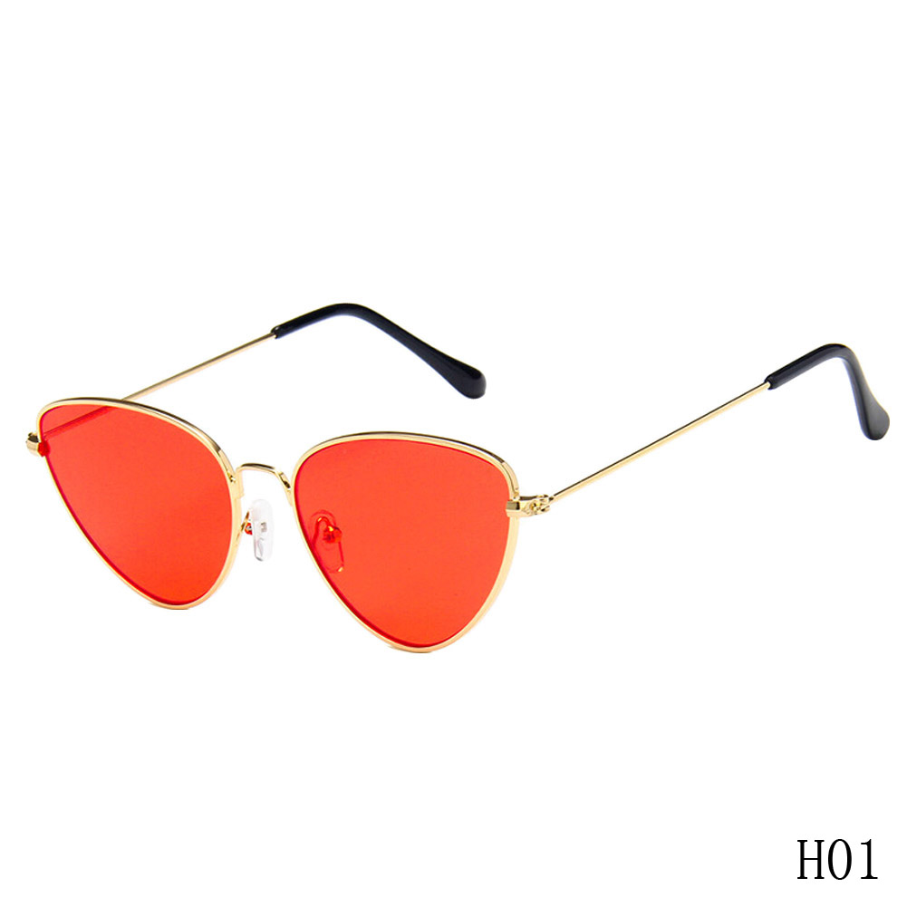 Eyewear New Womens Cat eye Sunglasses Vintage Metal Retro Women Mirror Shape lunettes de soleil femme zonnebril UV400