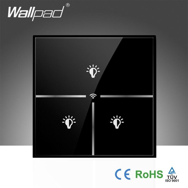 Hot Wallpad noir cristal verre 110 ~ 250 V UK 3 Gang Wifi sans fil télécommande contrôle WIFI électrique interrupteur mural, livraison gratuite