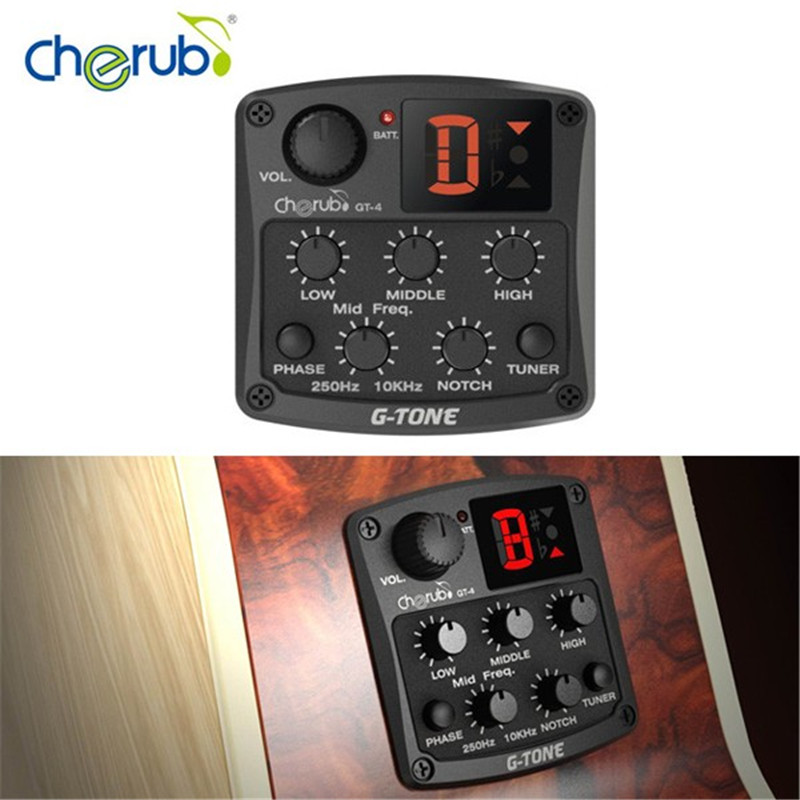 Cherub GT-4 3-Band Acoustic Guitar Preamp EQ Equalizer Pick-up Tuner Guitarra Stringed Instrument Accessories for Folk Guitar joyo eq 307 folk guitarra 5 band eq acoutsic guitar equalizer high sensibility presence adjustable with phase effect and tuner