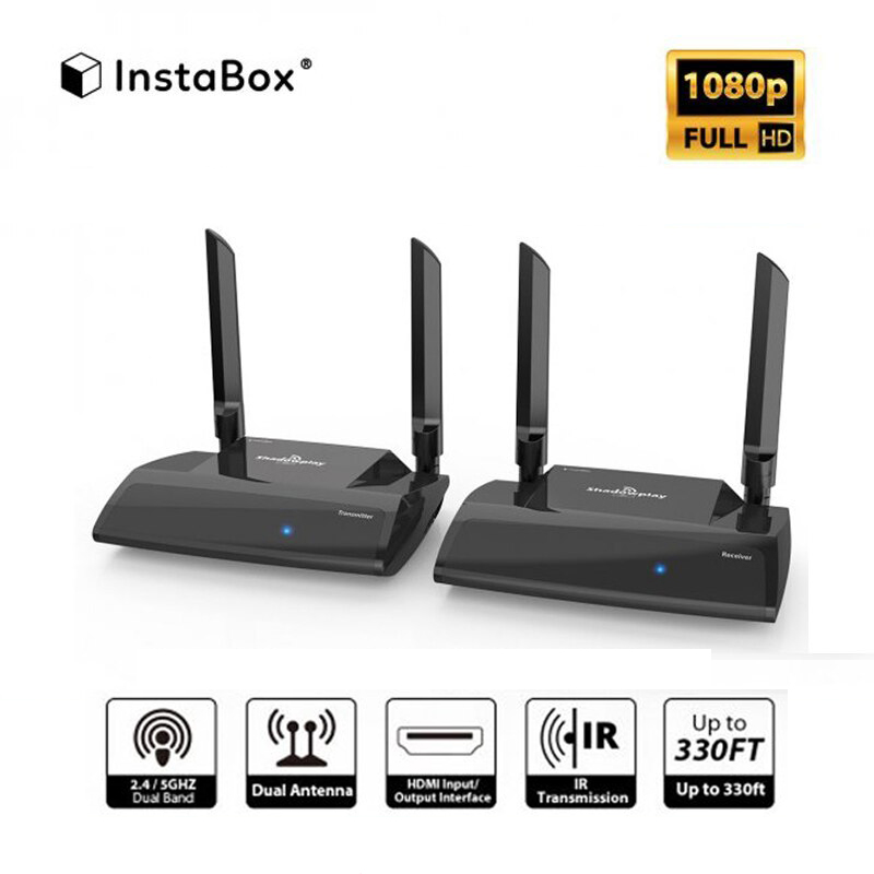 InstaBox Shadowplay SP2 HD 1080P 2 4/5 0GHz 330Ft Wireless Transmitter &  Receiver Kit, HDMI Signal Extender with IR Transmission