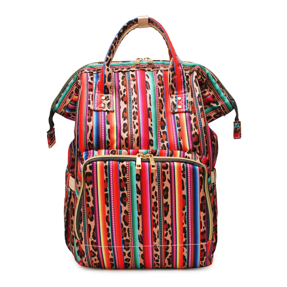 Mummy Backpack Serape Leopard Maternity Nappy Travel Bag Multi Pockets Canvas Nursing Baby Care Changing Diaper