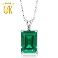 GemStoneKing Women S 6 52 Ct Octagon Green Simulated Emerald White Diamond 925 Sterling Silver Pendant