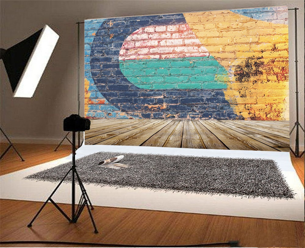 Laeacco Graffiti Brick Wall Wooden Floor Photography Backgrounds Customized Photographic Backdrops For Photo Studio in Background from Consumer Electronics