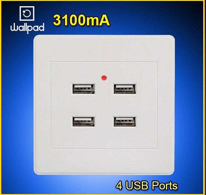 3100mA 4-Порты и разъёмы <font><b>USB</b></font> розетки Зарядное устройство Мощность розетки адаптер розетки 5 В Панель разъем зарядки Intelligent гнезда Бесплатная дост&#8230;
