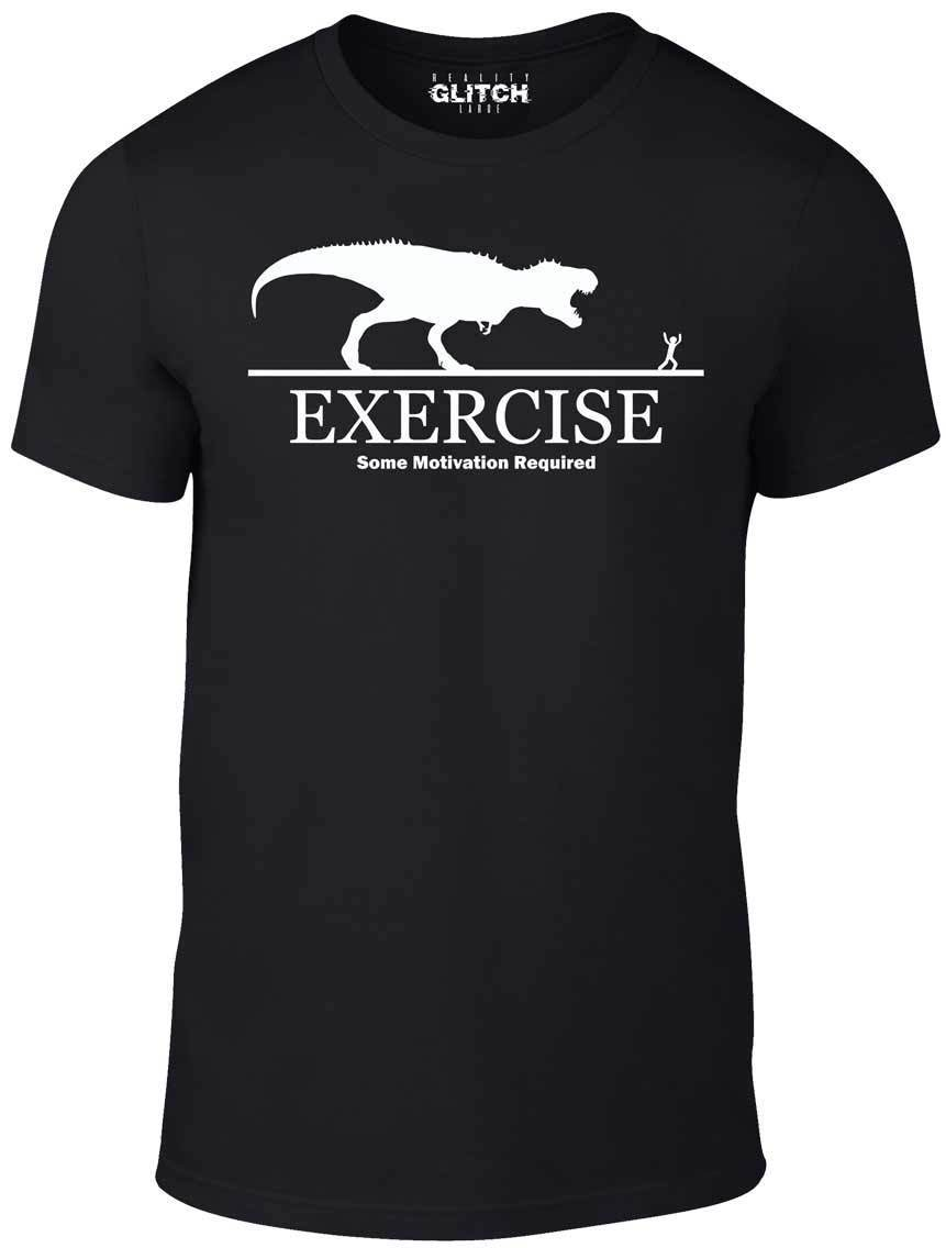 Exercise Motivation Required T-Shirt Funny T-Shirt T Rex Dinosaur Fitness 100% Cotton Straight O-Neck Short Sleeve