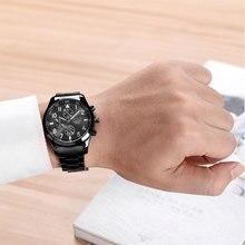 Мужчины Luxury Brand Хронограф Мужчины Бизнес Часы Водонепроницаемые Розовое Золото Полный Стали мужские Кварцевые Часы Relogio Masculino