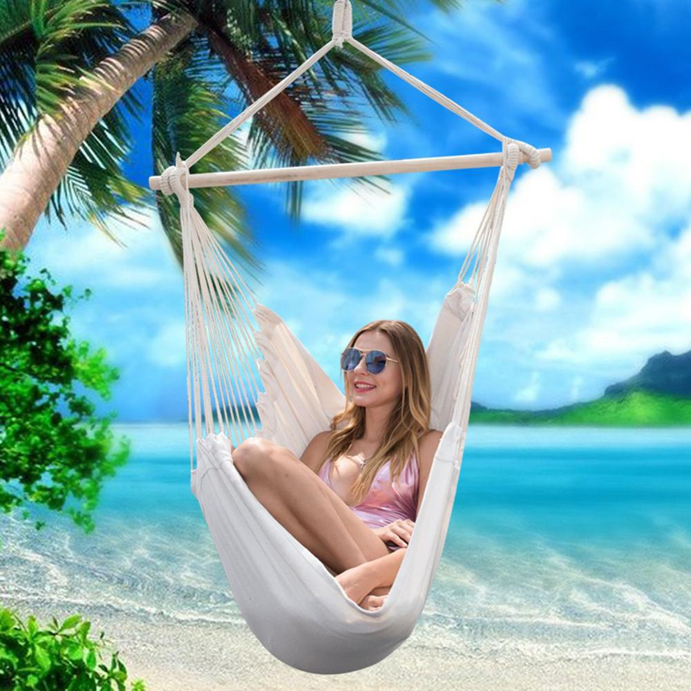Outdoor Hammocks Hanging Chair Swing Chair Seat With 2 Pillows Outdoor Garden Hammock Chair For Indoor Outdoor Garden Chairs