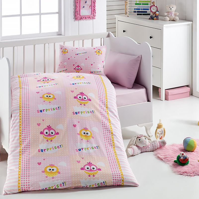Lady Moda Surprise Egg 4 Pcs Baby Bedding Set 100x150 Cm Crib Bedding Set 100% Cotton Cartoon Baby Bed Linen Set From Turkey