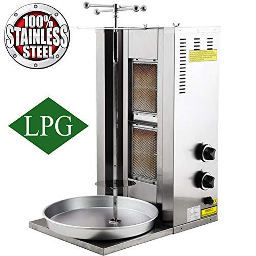 2 Burner Propane Gas Vertical Commercial Broiler Shawarma Gyro Doner Kebab BBQ Rotisserie Tacos Al Pastor Grill Trompo Machine