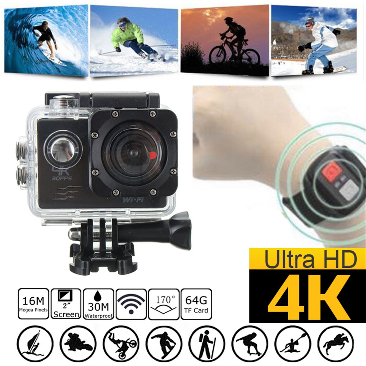 4K WiFi 2 Inch SJ8000R 1080P Full HD Sport DV Action Camera 170 Degree Wide Angle Underwater Waterproof with Remote Control pvt 898 5g 2 4g car wifi display dongle receiver airplay mirroring miracast dlna airsharing full hd 1080p hdmi tv sticks 3251