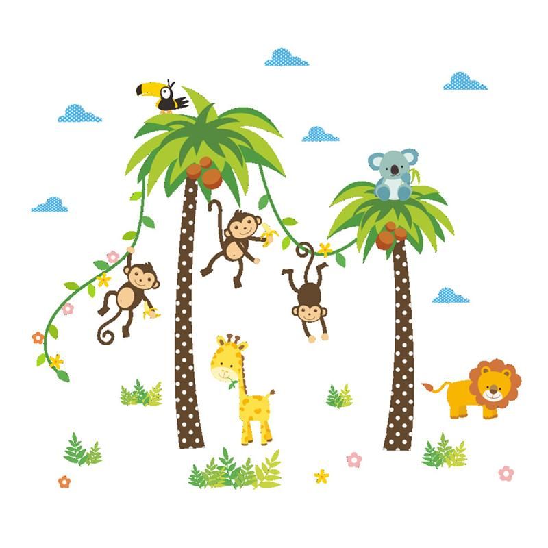 Removable Jungle Animal Kindergarten Baby Room Stickers Wall Decals Cartoon Monkeys Nut Tree Nursery Decal Art Murals jungle themed wall stickers