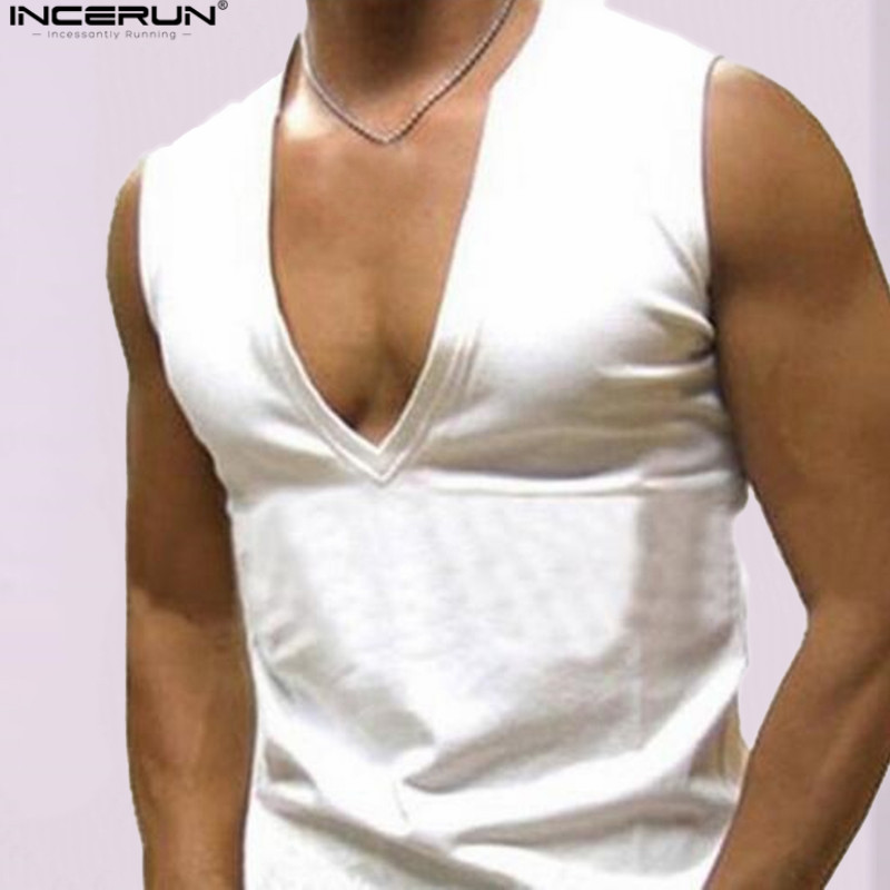 INCERUN New 2018 Mens Clothes Bodybuilding Tank Top Men Fitness Tee Tops Muscle Tight Pure Slim Sexy V-neck Sleeveless Vest