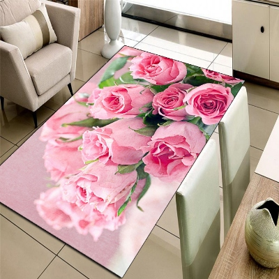 Else Pink Love Roses Floral Flowers 3d Print Non Slip Microfiber Living Room Decorative Modern Washable Area Rug Mat
