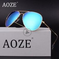AOZE Luxury Classic Brand Men For Women Driving Glass Gradient Lens Aviator Sunglasses 58mm 3025 Mirror