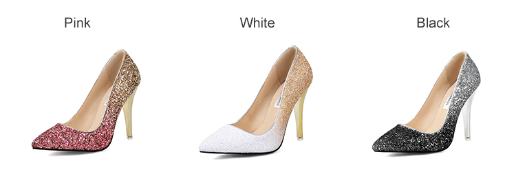 18 New High thin heels shoes women pumps bling wedding Bridal shoes classic 1cm 5.5cm or 8.5cm pointed toe evening party shoes 3