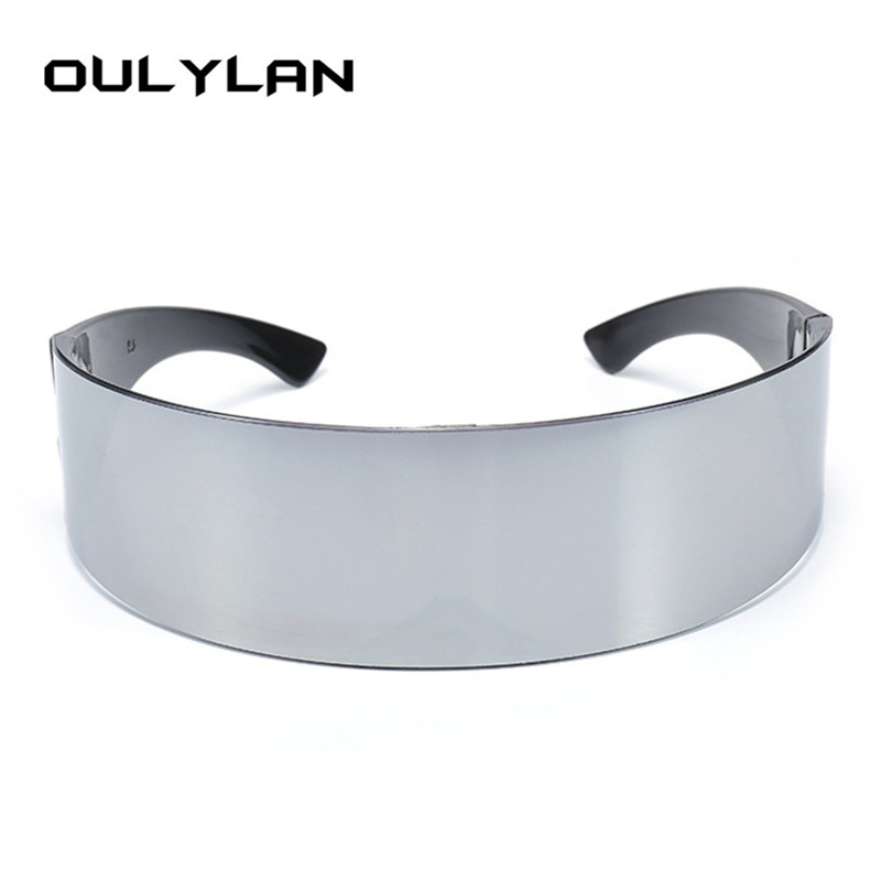 Oulylan Mens Wrap <font><b>Sunglasses</b></font> Women Hairband Integral Black Silver Shades Flat Top Novelty Costume Party Funny Strange Glasses image