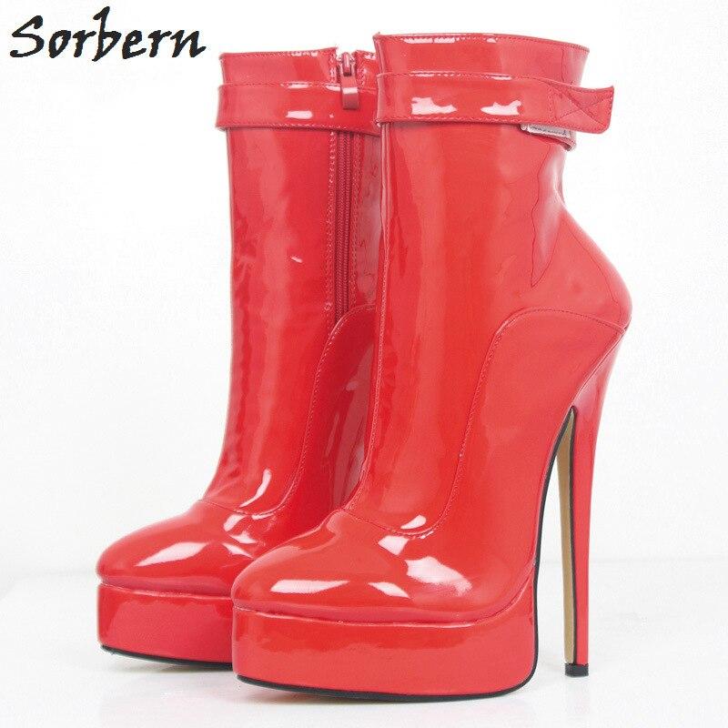 4641568e Pista Sorbern Tobillo blanco Cm 12 Gran botas 2018 18 Botas rojo Tamaño  Para custom Color Shiny Invierno Mujeres Gótico De Tacón Rojo Zapatos ...