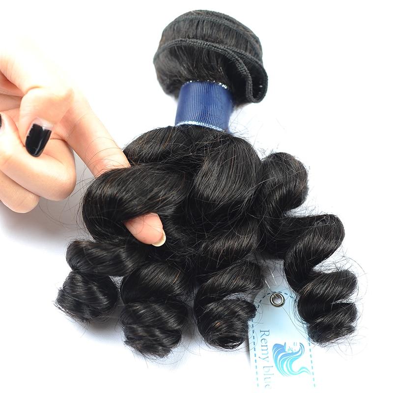 Remy Blue Hair 3 Loose Wave Bundles Peruvian Human Hair Weave Extensions Natural Color Black Remy Hair Bundles Deals No Shedding