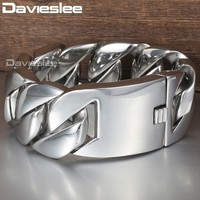 31mm Wide Length 316L Stainless Steel Bracelet Silver Color Curb Cuban Link Mens Unisex Jewelry Dropshipping