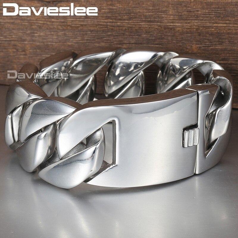 Davieslee 31mm 21 cm Bracelet en acier inoxydable 316L poli pour hommes couleur argent gourmette lien cubain unisexe bijoux pour hommes DLHB23