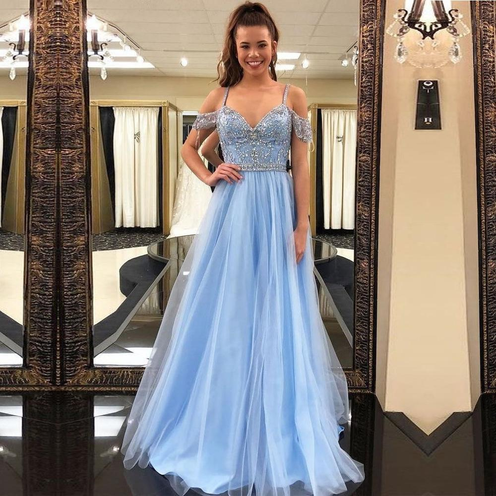 Light Blue   Prom     Dresses   2019 Elegant A Line Straps V Neck Long Vestidos de Gala Beading Tulle   Dress   for Evening Party