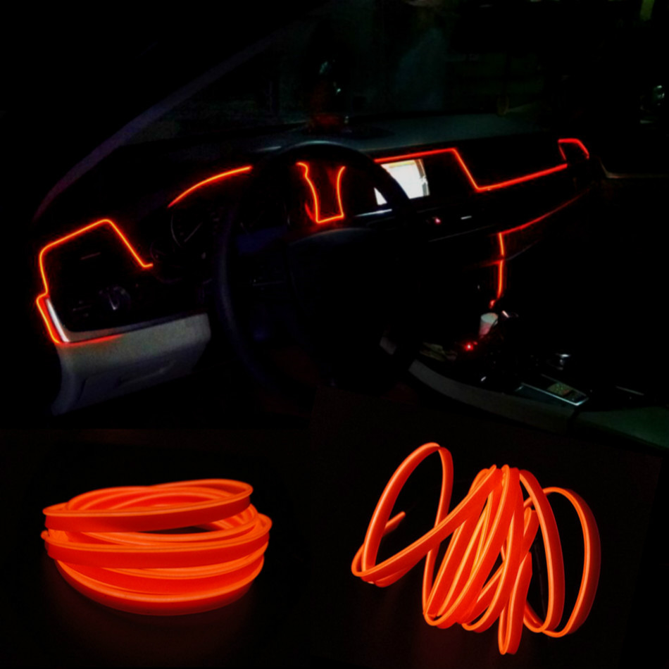 JURUS 3Meters Interior Led Tube Line Flexible Rope Neon Car Light Glow El Wire Salon Flat Strip Decoration With 12V Inverter