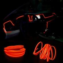 JURUS 3 метров интерьера светодиодные трос трубки линии Гибкая неоновый свет свечение el салон плоским полосы украшение автомобиля с 12 В инвертор