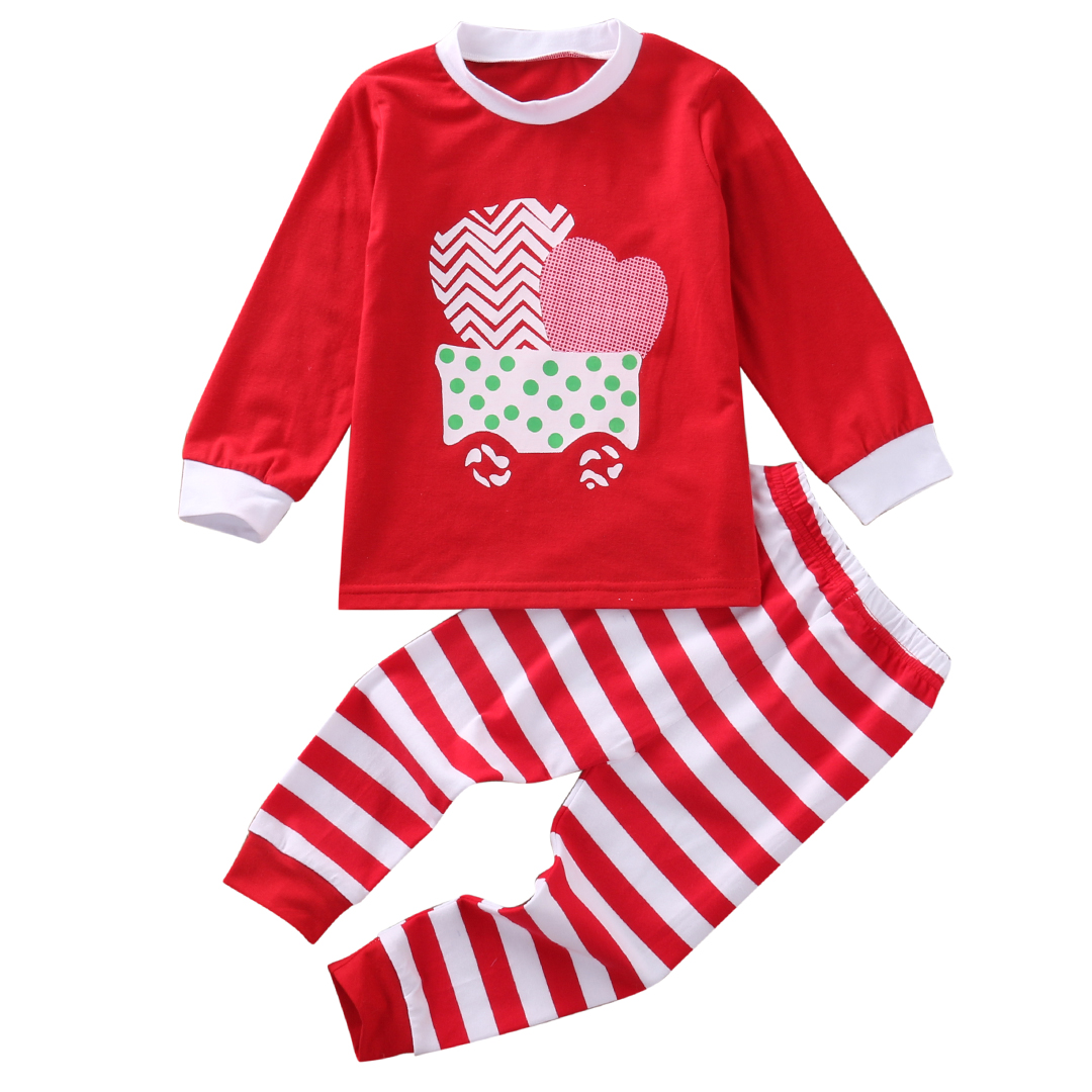 Kids Xmas Stripes Pjs Clothing Set Toddler Kid Baby Girl Nightwear Pajamas Pjs Set Sleepwear Striped Christmas Clothes