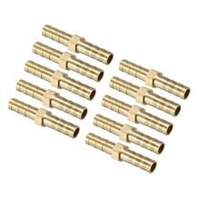 UXCEL 10pcs Brass Barb Hose Fittings 6/8/10mm Straight Connector Joiner Air Water Fuel Boat to Connect Lines for Air Water etc 10pcs brass 5mm equal straight barb fitting adapter for pneumatic air hose