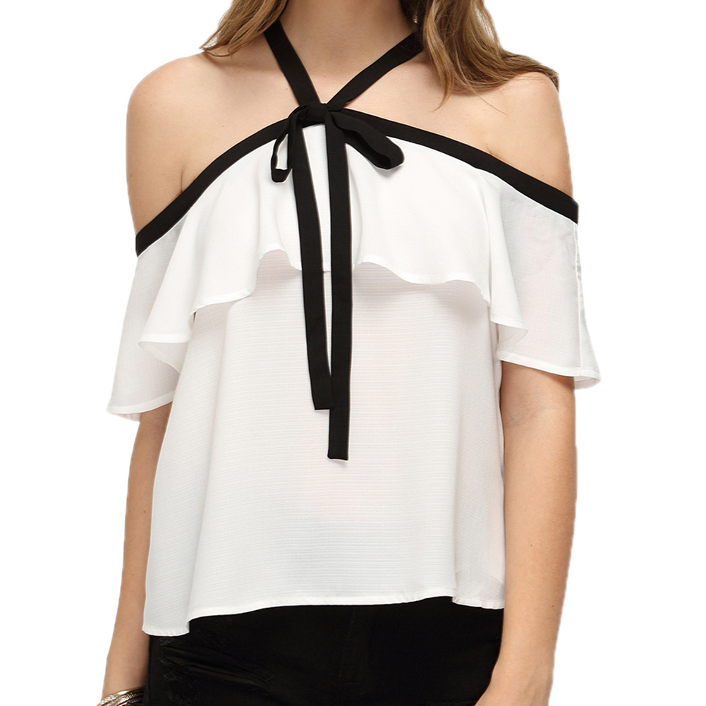 New Women Fashion Tops Temperament Strapless Hanging Neck Short Sleeve Lotus Leaf Shirt White Color