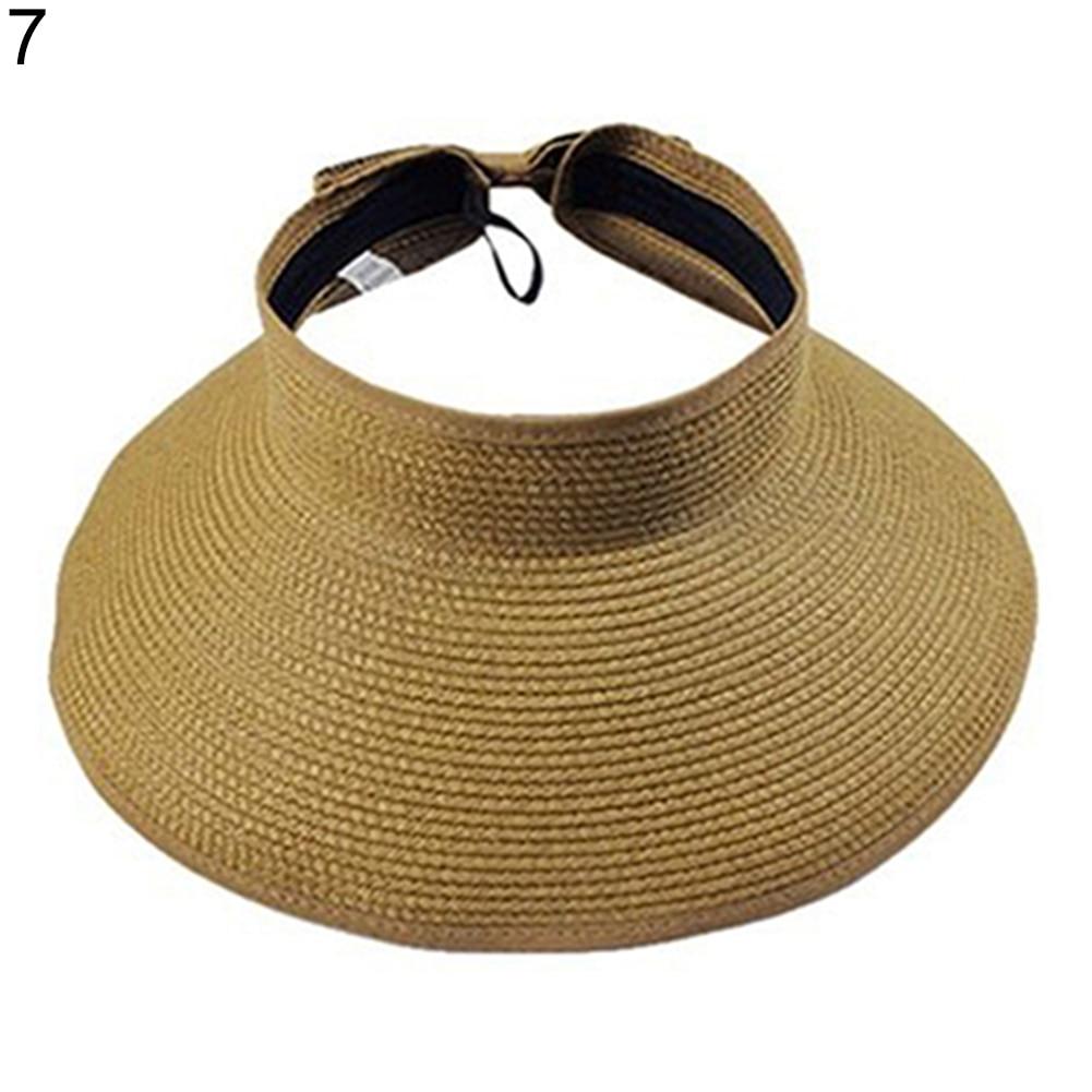 2018 Hot Sale Women Summer Hat Wide Big Brim Roll Up Foldable Sun Beach Straw Braid Visor Ladies Shade Caps  Leisure