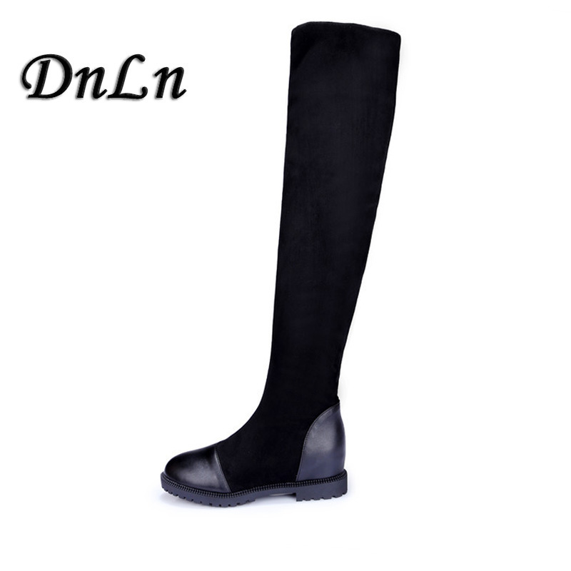 Women Boots Low Heel Knee High Boots Stretch Fabric Thigh High Over The Knee Black Boot Ladies Shoes D50 women boots low heel knee high boots stretch fabric thigh high over the knee black boot ladies shoes d50