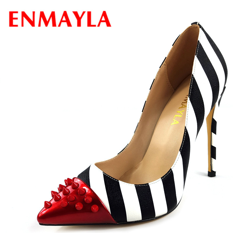 ENMAYLA Mixed Colors Sexy Stiletto Heel Rivets Shoes Women Striped High Heels Pointed Toe Pumps Blue Shoes Woman Plus Size 46 nes mixed colors serpentine sexy women high heels ankle hook loop pointed toe stiletto pumps ladies banquet party shoes woman