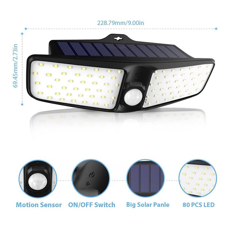 Date 4 pièces 80 LED 3 Modes jardin lampes LED solaires extérieur solaire applique étanche IP65 solaire économie d'énergie sécurité lumière - 3
